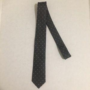 The Tie Bar Grey 100% Silk Neck Tie Polka Dots
